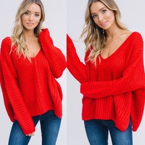 LAST - ADALINE Knit Sweater - RED